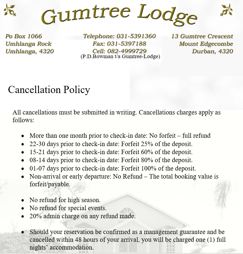 Terms & Conditions - Gumtree-Lodge